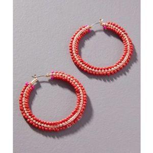 NWT Anthropologie red hoop earrings